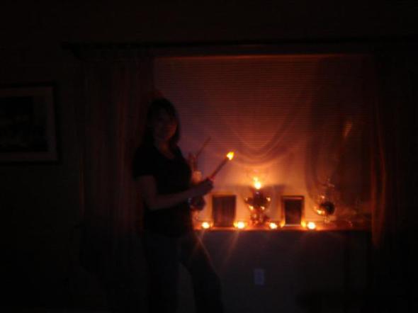 Mom lighting candles