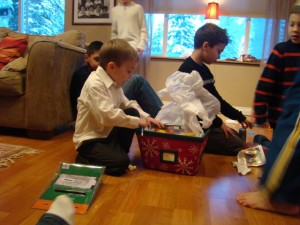 Saih opening up the family gift