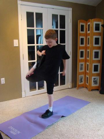 stretching the goal scoring leg