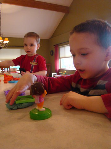 Josiah and Josh playing with Play Dough