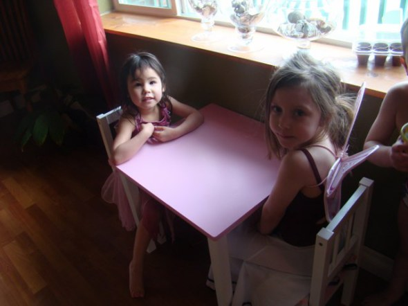 Jo and Aitana waiting for dessert, patiently I might add