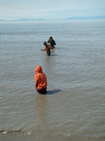 Wading in Alaska glacier water... that's our kids
