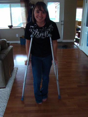 Ballerina on crutches