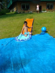 Jake in action, and yes this is a redneck slip-n-slide.