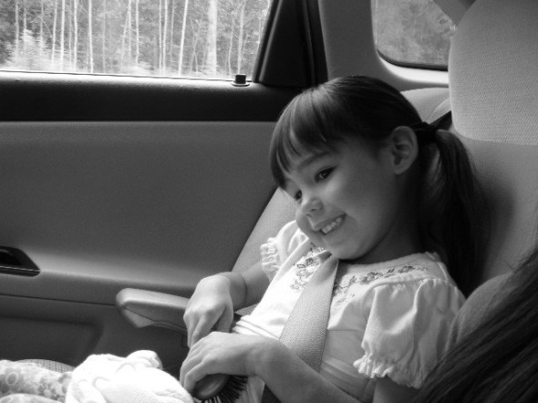 Love's riding in daddy's car ( he drives faster than mommy, but not over the speed limit!)