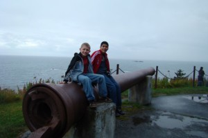 hanging on the old cannon at Abercrombie