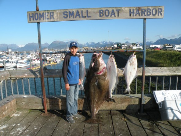 Dorian posing with the day's catch. Guess which one he caught.
