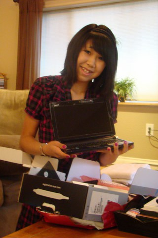 Livy with her big 13 present, her own notebook.