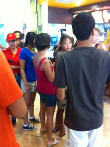 Waiting in line at the always crowded McDonald's.